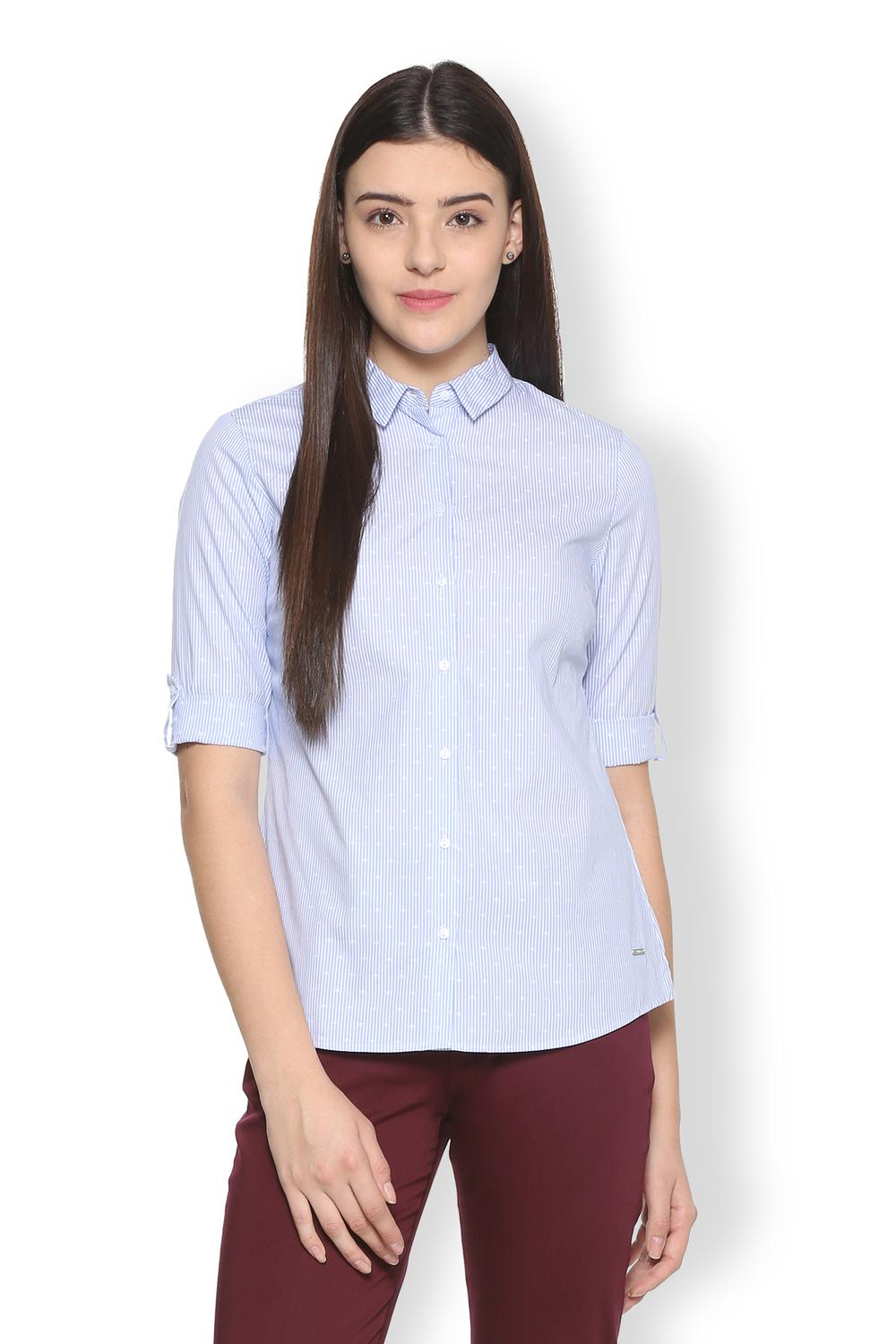 389d6655c009 Van Heusen Woman Shirts & Blouses, Van Heusen Blue Shirt for Women at  Vanheusenindia.com